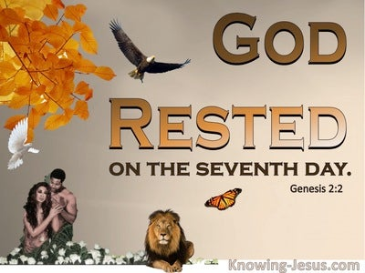 Genesis  2-2 God Rested On The Seventh Day (brown)
