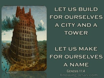 Genesis 11:4 Let Us Build A Tower For Ourselves (aqua)