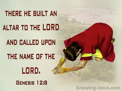 Genesis 12:8 He Pictched His Tent And Built And Alter (red)