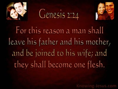 Genesis 2:24 Joined Together As One Flesh maroon