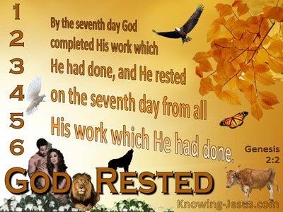 Genesis  2-2 God Rested On The Seventh Day (orange)