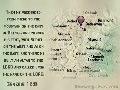 Genesis 12:8 He Pitcheh His Tent With Bethel On The Left (green)
