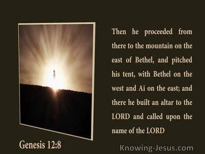 Genesis 12:8 There He Builded An Altar (brown)