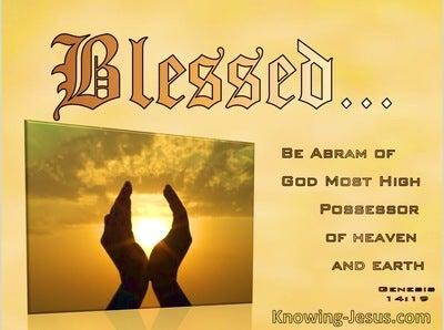 Genesis 14:19 Blessed Be Abram Of God Most High (orange)