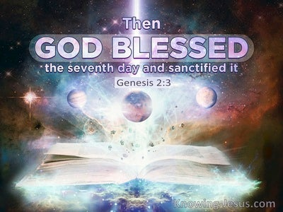 Genesis 2:3 God Blessed The Seventh Day And Sanctified It (purple)