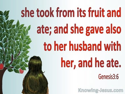 Genesis 3:6 Eve Took, Ate And Gave To Her Husband (red)