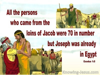 Exodus 1:5 All Who Came From Jacob Were 70 In Number (red)