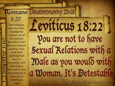 Leviticus 18:22 You Must Not Have Sex Relations With A Male (red)