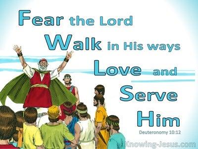Deuteronomy 10:12 Fear God, Walk In His Ways Love and Serve Him (aqua)
