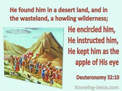 Deuteronomy 32:10 He Found Him In A Desert Land (red)