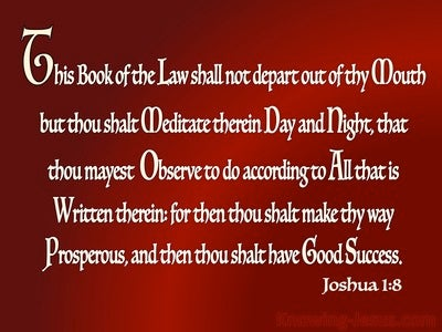 Joshua 1:8 Meditate On God's Word Day And Night (red)