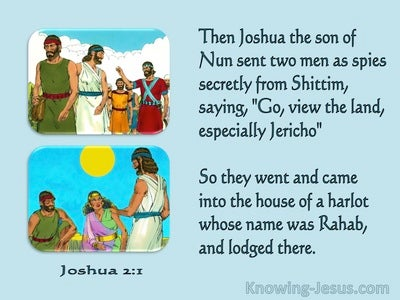 Joshua 2:1 Joshua Sent Two Men As Spies Secretly (aqua)