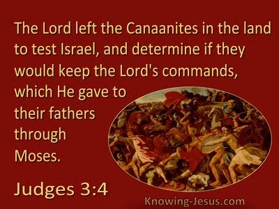 Judges 3:4 The Lord Left Them In The Land To Test Israel (red)