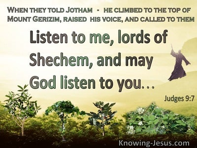 Judges 9:7 Listen To Me And God Will Listen To You (green)
