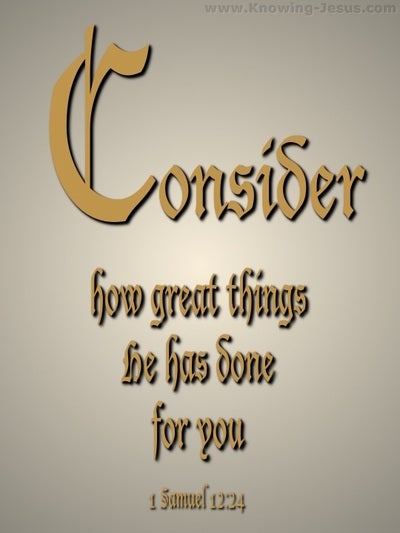 1 Samuel 12:24 Consider What Great Things He Has Done (beige)