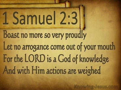 1 Samuel 2:3 The Lord Is A God Of Knowledge (brown)
