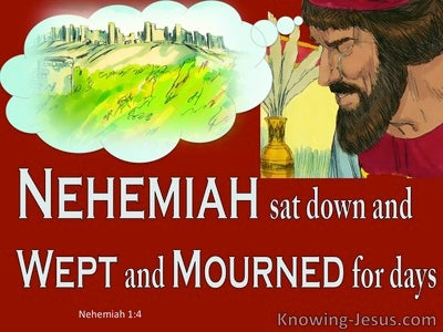 Nehemiah 1:4 He Sat Down And Wept And Mourned (red)