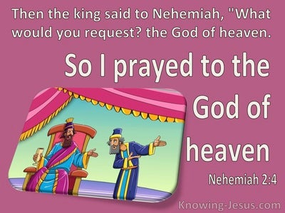 Nehemiah 2:4 So I Prayed To The God Of Heaven (pink)