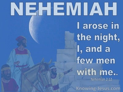 Nehemiah 2:12 I Arose In The Night, I And A Few Men With Me (blue)