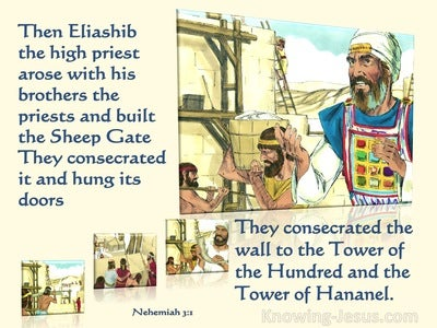 Nehemiah 3:1 Eliashib And The Priests And Built The Sheep Gate (yellow)