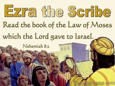 Nehemiah 8:2 Ezra The Scribe Brought The Book Of The Law (yellow)