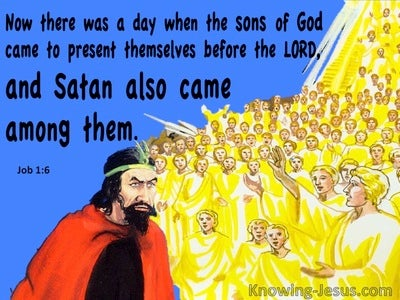 Job 1:6 Satan Came Among The Sons Of God (blue)