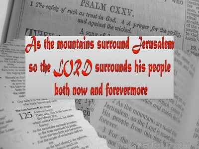 Psalm 125:2 The Lord Surrounds His People (red)
