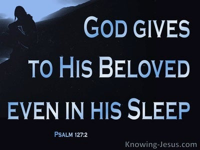 Psalm 127:2 He Gives To His Beloved Sleep (blue)