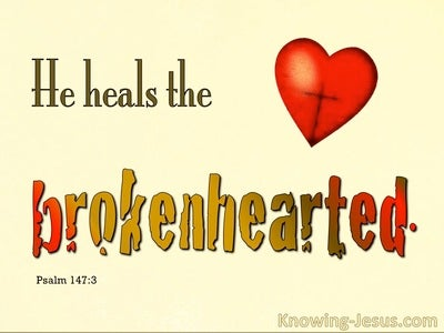 Psalm 147:3 He Heals The Brokenhearted (red)