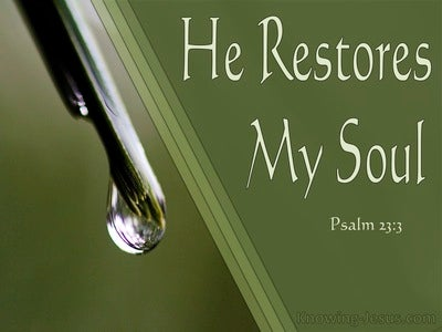 Psalm 23:3 He  Restores My Soul (green)