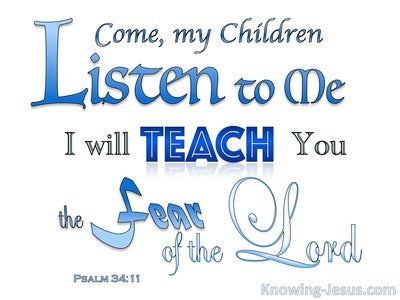 Psalm 34:11 The Fear Of The Lord (blue)