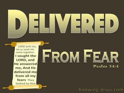 Psalm 34:4 He Delivered Me From My Fears (gold)