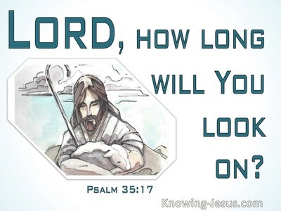 Psalm 35:17 Lord How Long Will You Look On (white)