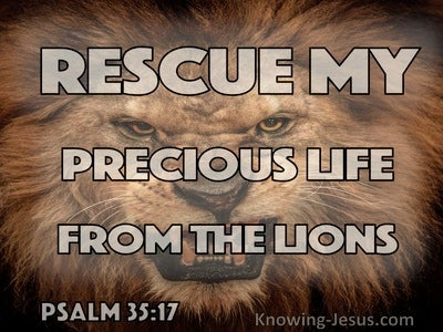 Psalm 35:17 Rescue My Precious Life From The Lions (brown)