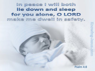 Psalm 4:8 The Lord Makes Me Dwell In Safety (blue)