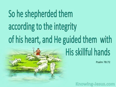 Psalm 78:72 He Shepherded Them in Integrity (aqua)