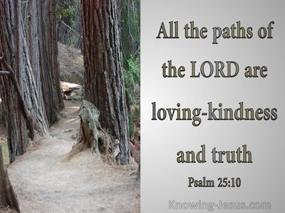 Psalm 25:10 His Paths Are Loving Kindness And Truth (gray)