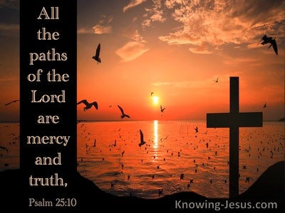 Psalm 25:10 All The Paths Of The Lord Are Mercy  And Truth (orange)
