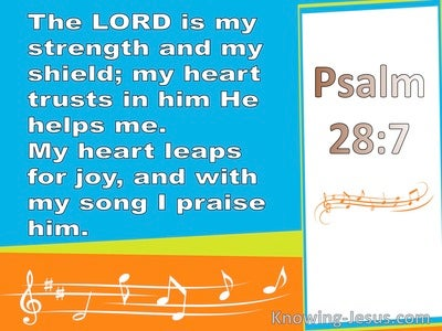 Psalm 28:7 The Lord Is My StrengthAnd My Shield (blue)