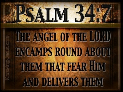 Psalm 34:7 The Angel Of The Lord Encamps (brown)