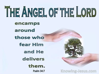 Psalm 34:7 The Angel Of The Lord (blue)