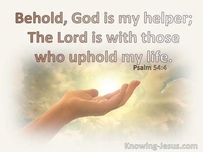 Psalm 54:4 Behold, God Is My Helper (white)
