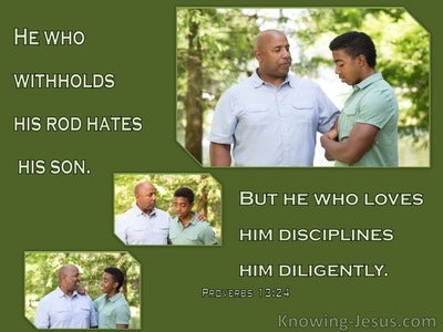 Proverbs 13:24 He Who Withholds His Rod Hates His Son (green)