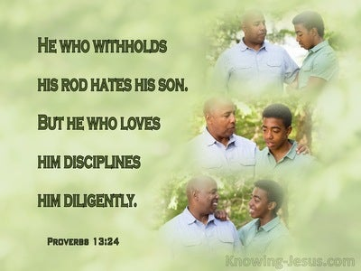 Proverbs 13:24 He Who Withholds His Rod Hates His Son (sage)
