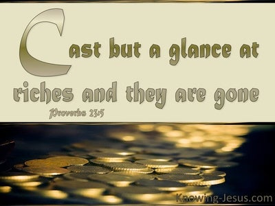 Proverbs 23:5 Cast But A Glance At Riches (gold)