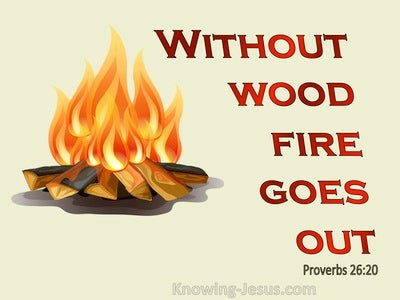 Proverbs 26:20 Without Wood, Fire Goes Out Without A Gossip, Conflict Dies Down (red)