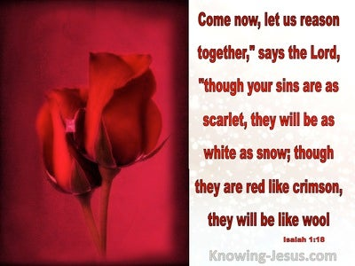 Isaiah 1:18 Sins That Are Scarlet Will Be White As Wool (red)
