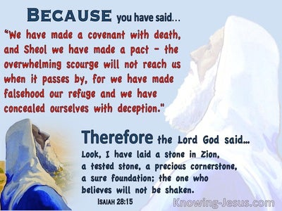 Isaiah 28:15 We Have Made A Covenant With Death (blue)