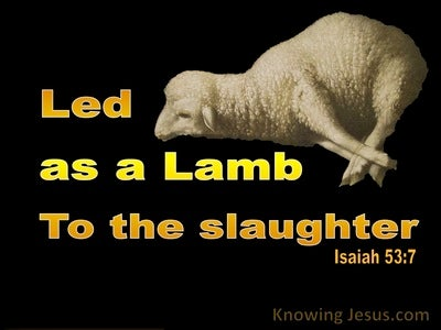 Isaiah 53:7 Led As A Lamb To The Slaughter (yellow)