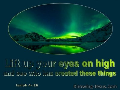Isaiah 40:26 Lift Up Your Eyes On High And See Who Has Created All Things (navy)
